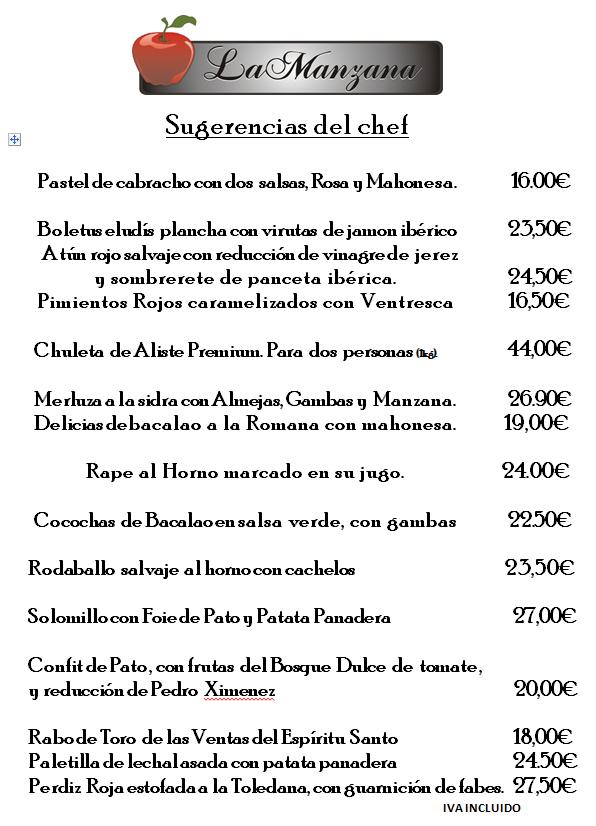 recomendaciones del chef